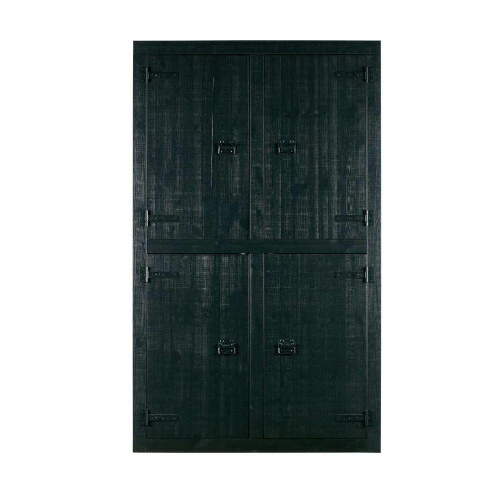 Armoire en pin massif 4 portes noir (photo)
