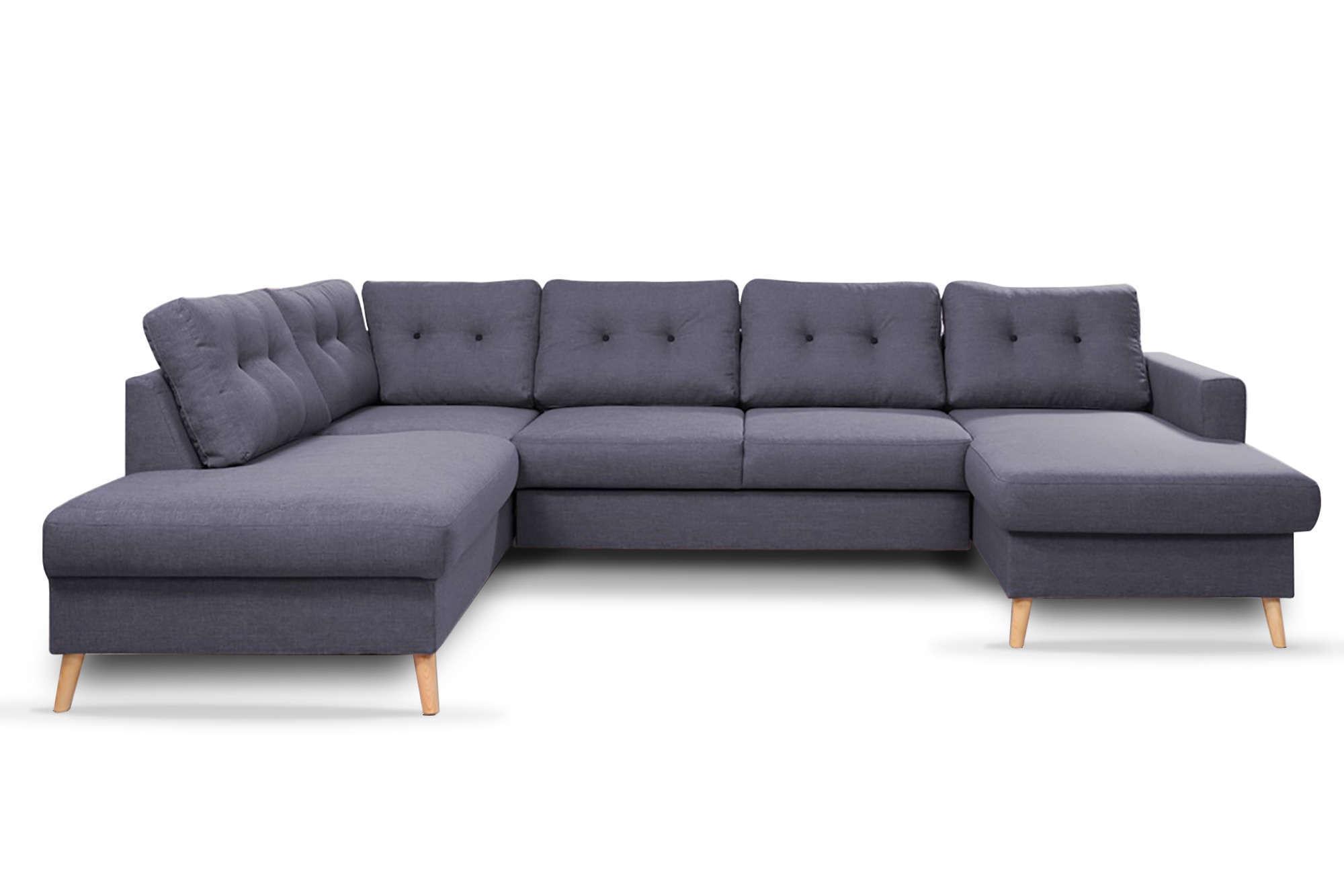 Canapé d'angle 8 places Gris Tissu Contemporain Confort