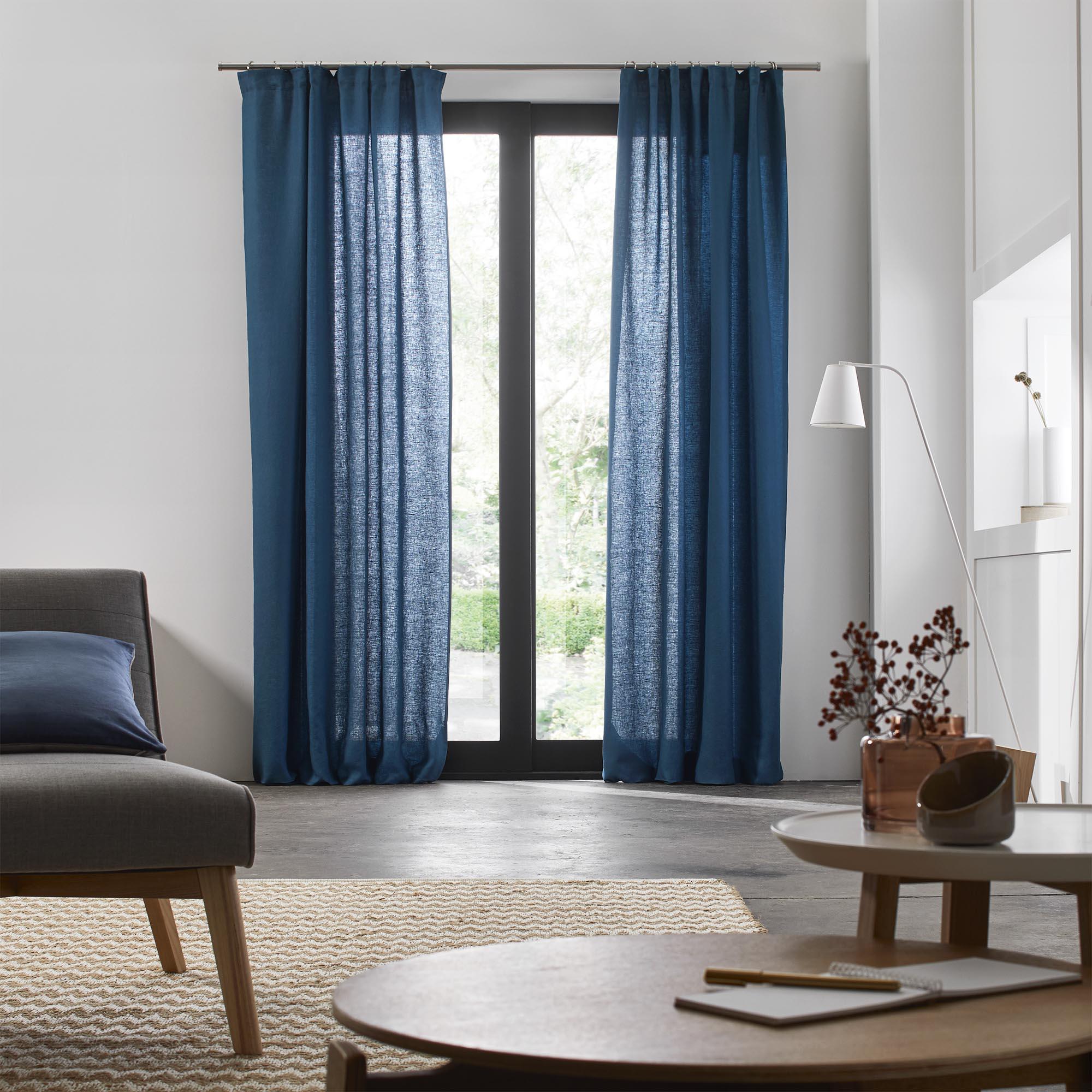 Rideau à ruban fronceur 200x280 cm Bleu vert en Lin