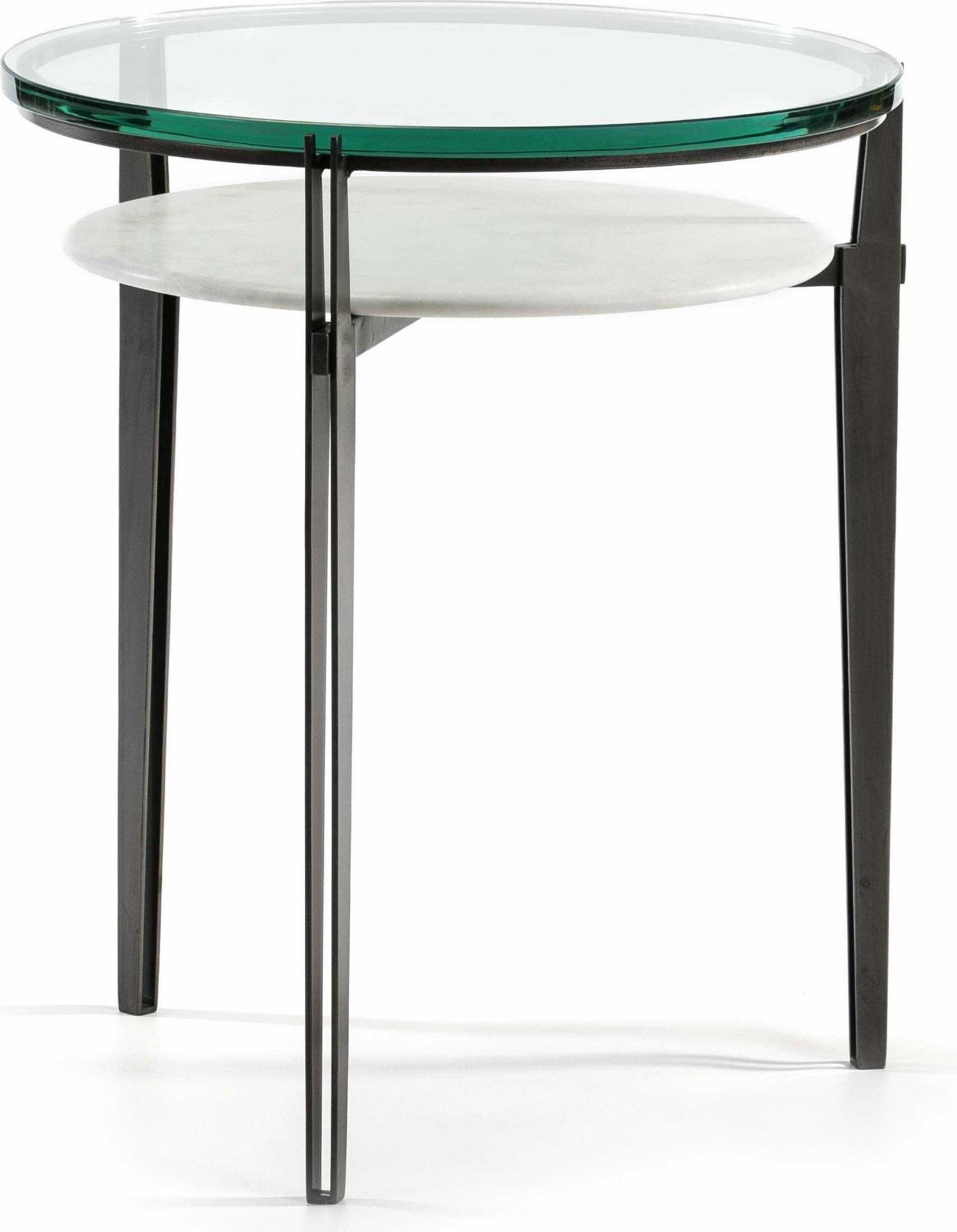 maison du monde Table d'appoint ronde pied métal plateau verre et marbre
