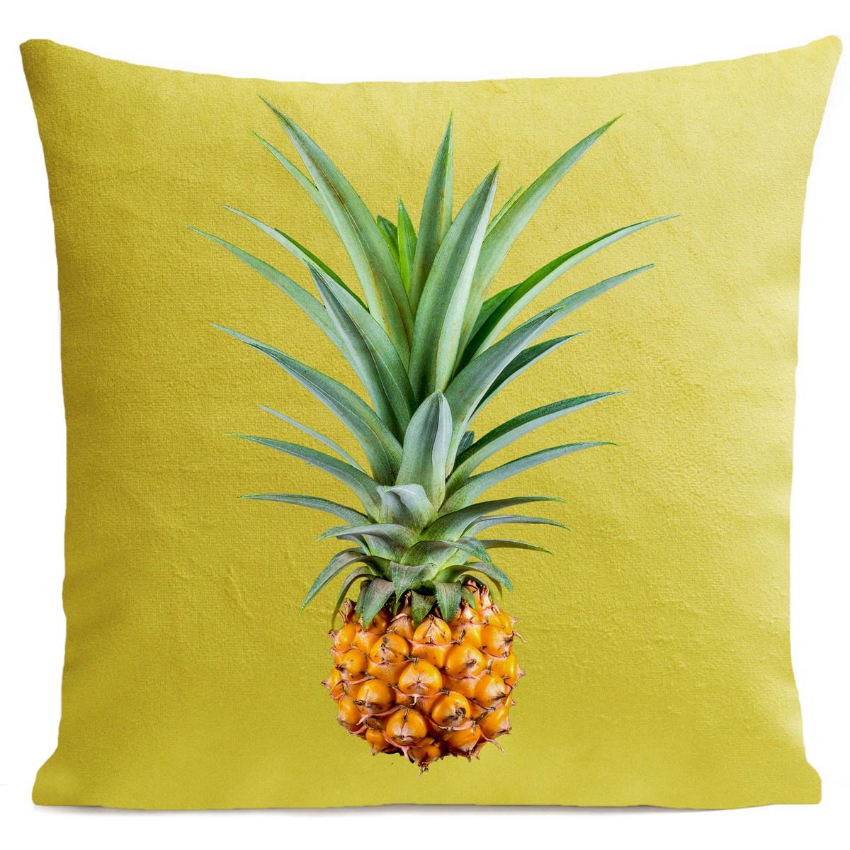 Coussin velours carré imprimé fruits jaune vif 60x60