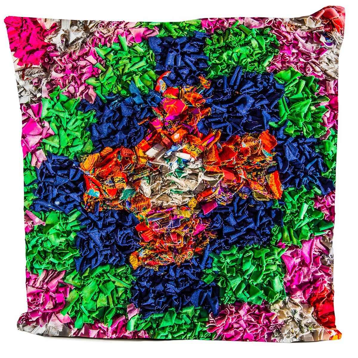 Coussin velours carré imprimé ethnique vert pur 60x60