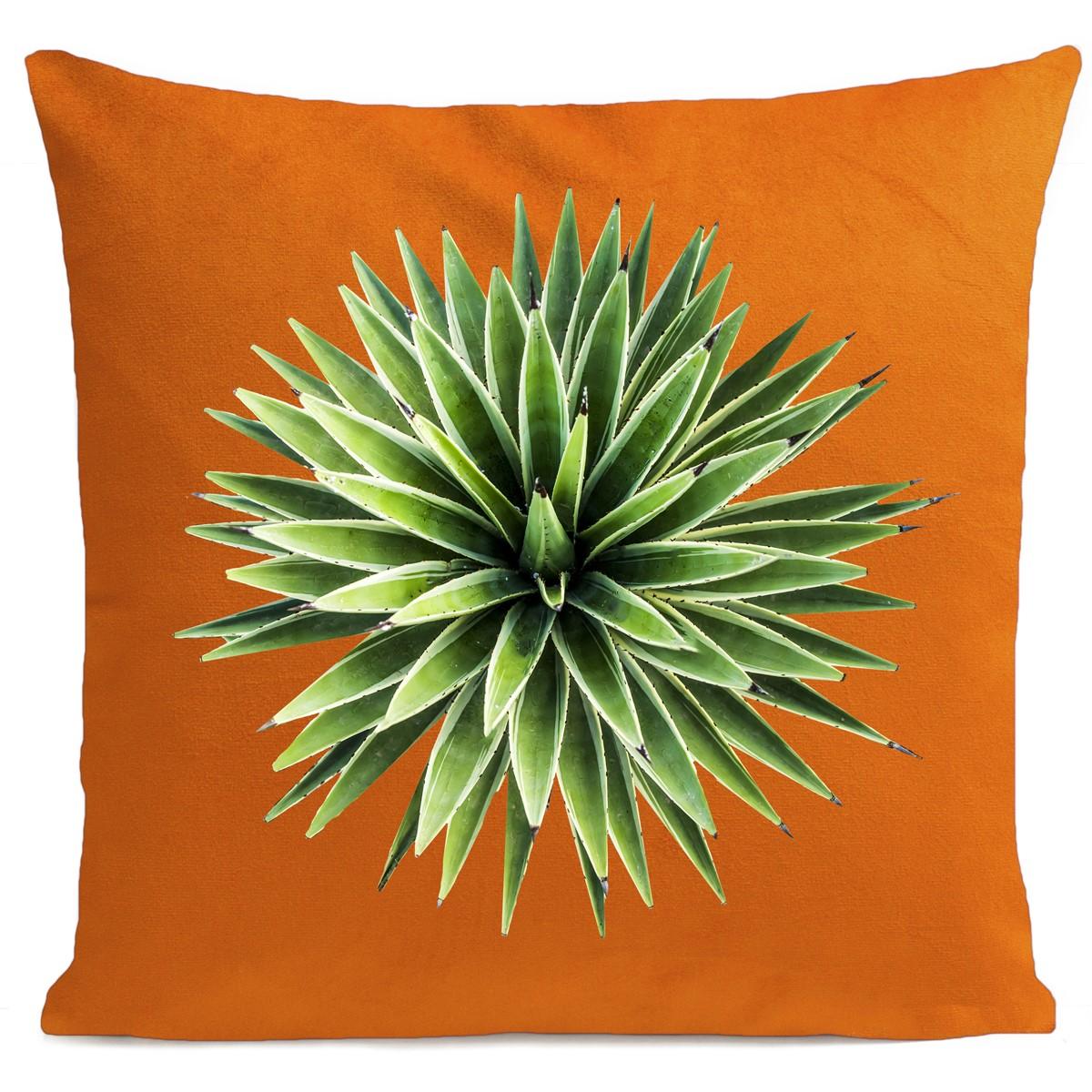 Coussin velours carré imprimé floraux orange vif 60x60