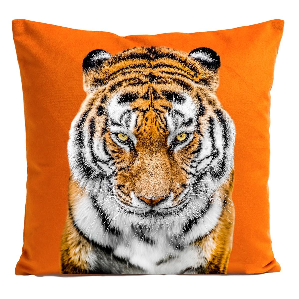 Coussin velours carré imprimé animaux orange vif 60x60