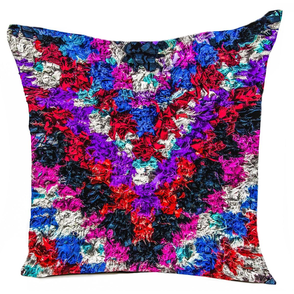 Coussin velours carré imprimé ethnique violet 40x40