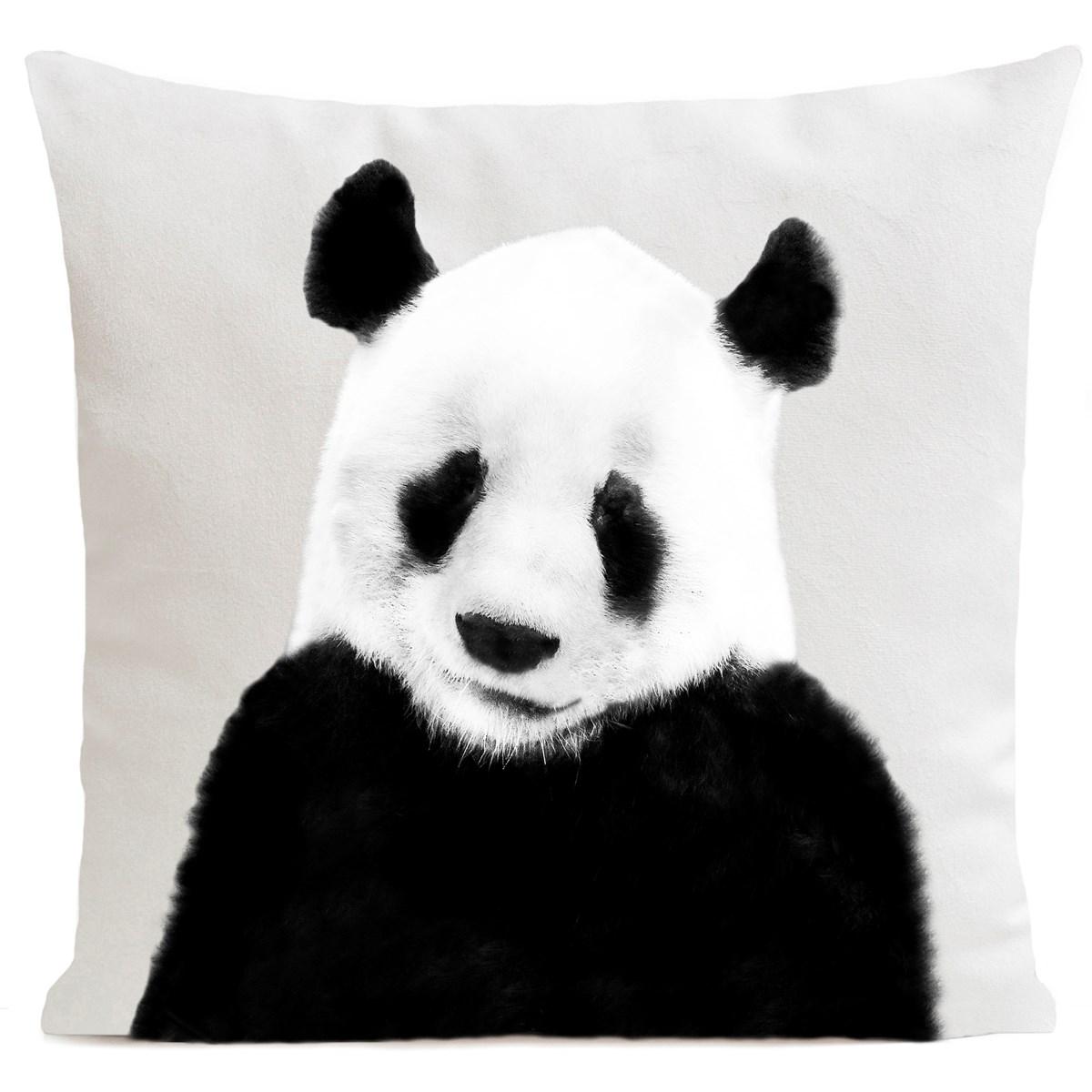 Coussin velours carré imprimé animaux blanc 60x60