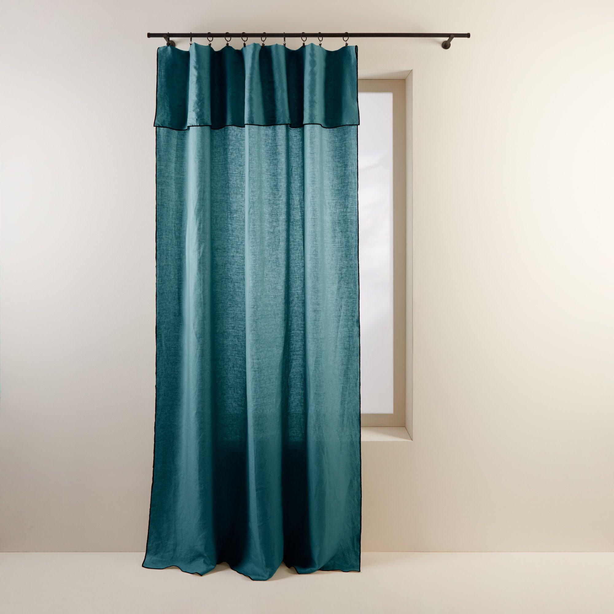 Panneau 150x350 cm Bleu vert et bourdon noir en Lin