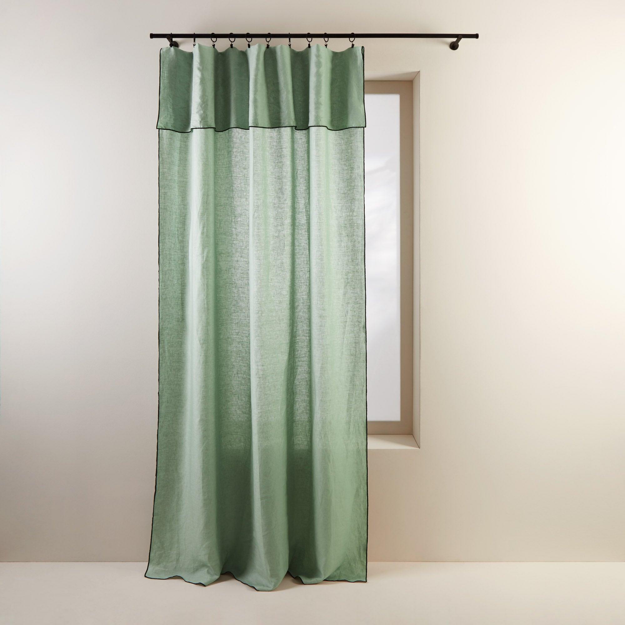 Panneau 150x280 cm Vert amande et bourdon noir en Lin