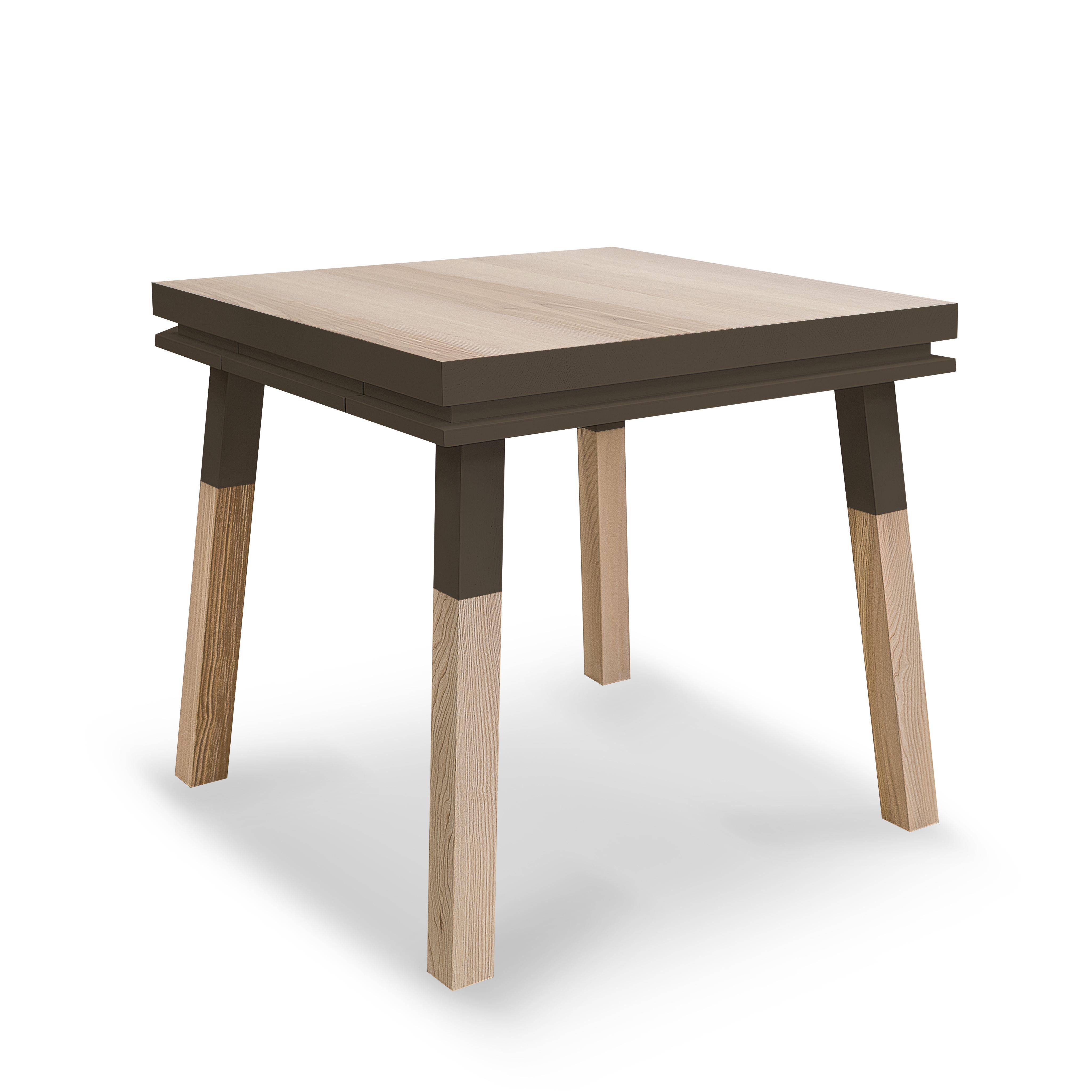 Bureau carré avec tiroir en frêne massif gris chocolat tanis