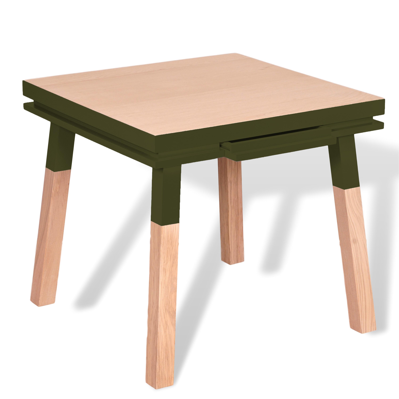 Bureau carré avec tiroir en frêne massif vert lancieux
