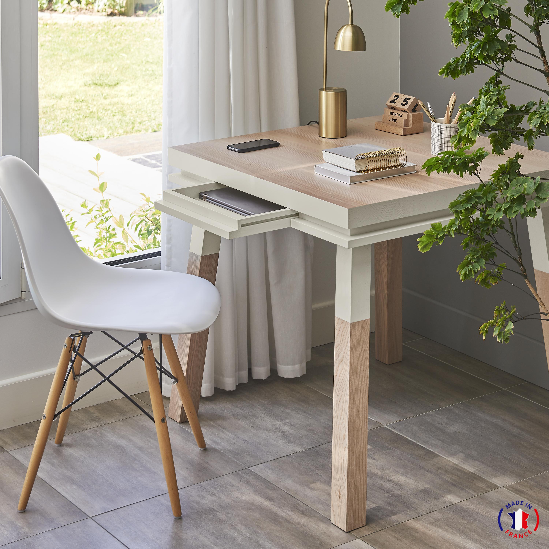 Bureau carré avec tiroir en frêne massif gris muscade
