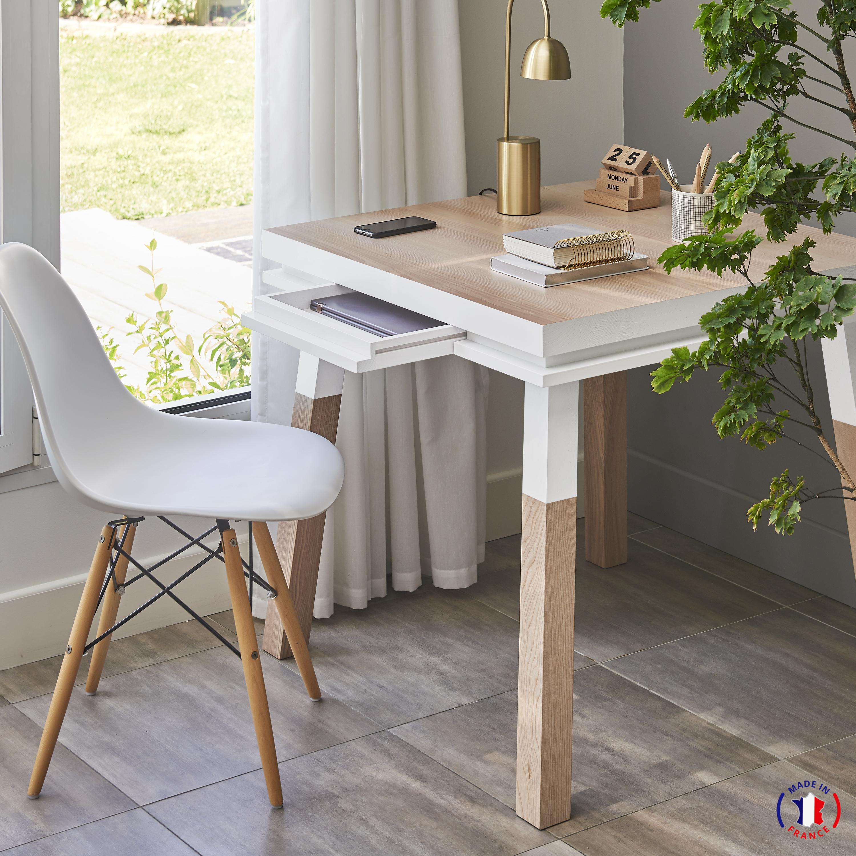 Bureau carré avec tiroir en frêne massif blanc balisson