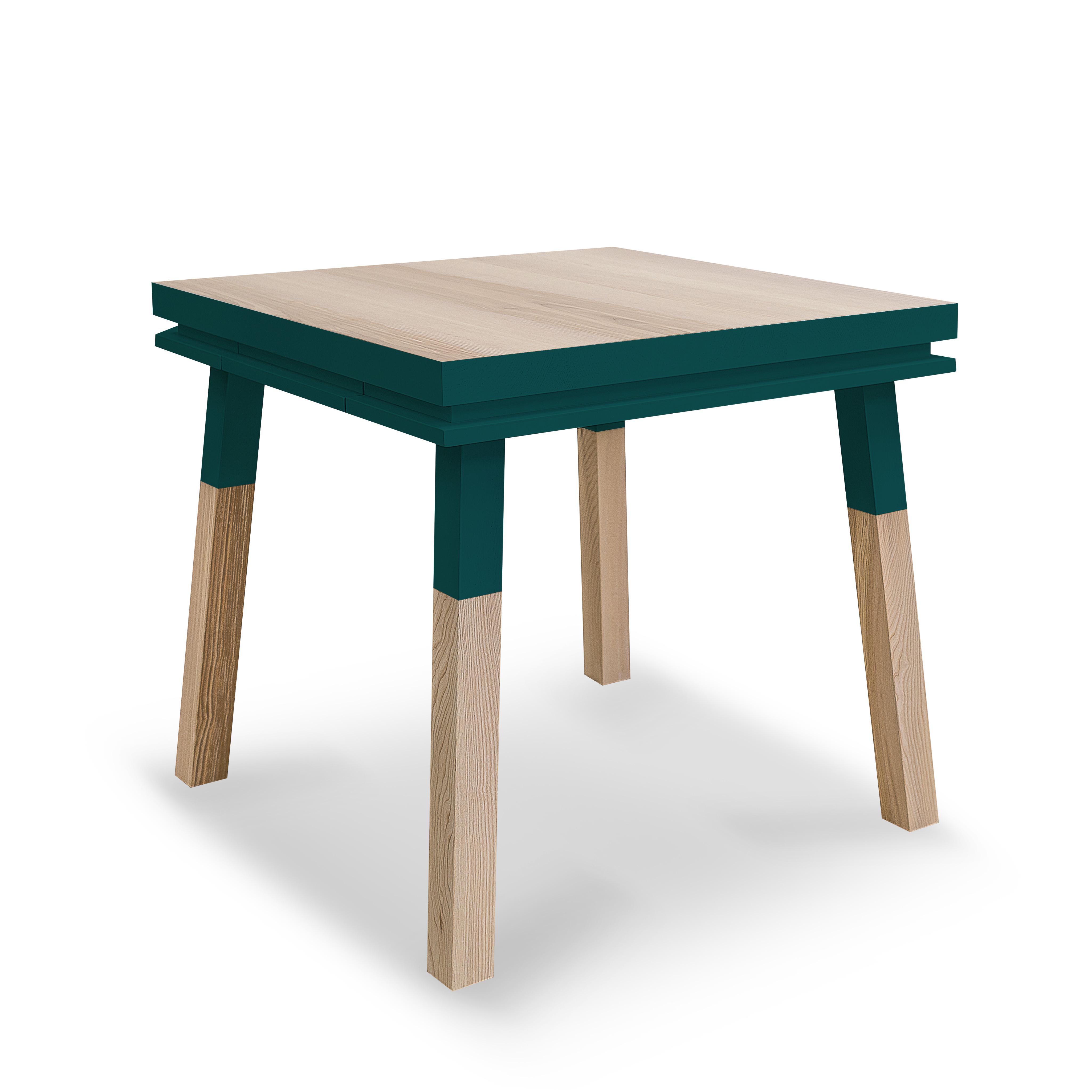 Bureau carré en bois massif avec tiroir bleu frehel