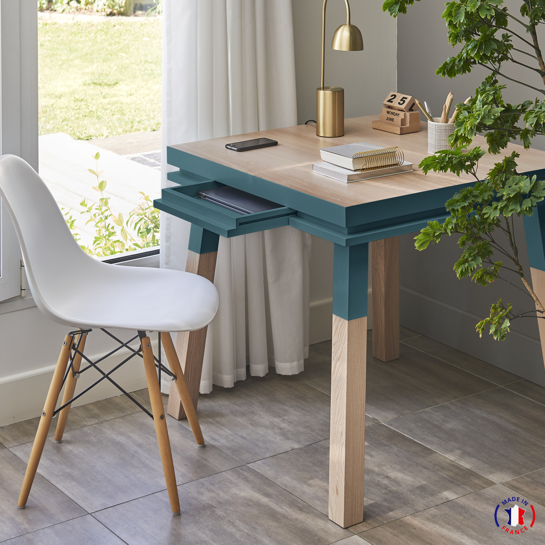 Bureau carré avec tiroir en frêne massif bleu frehel