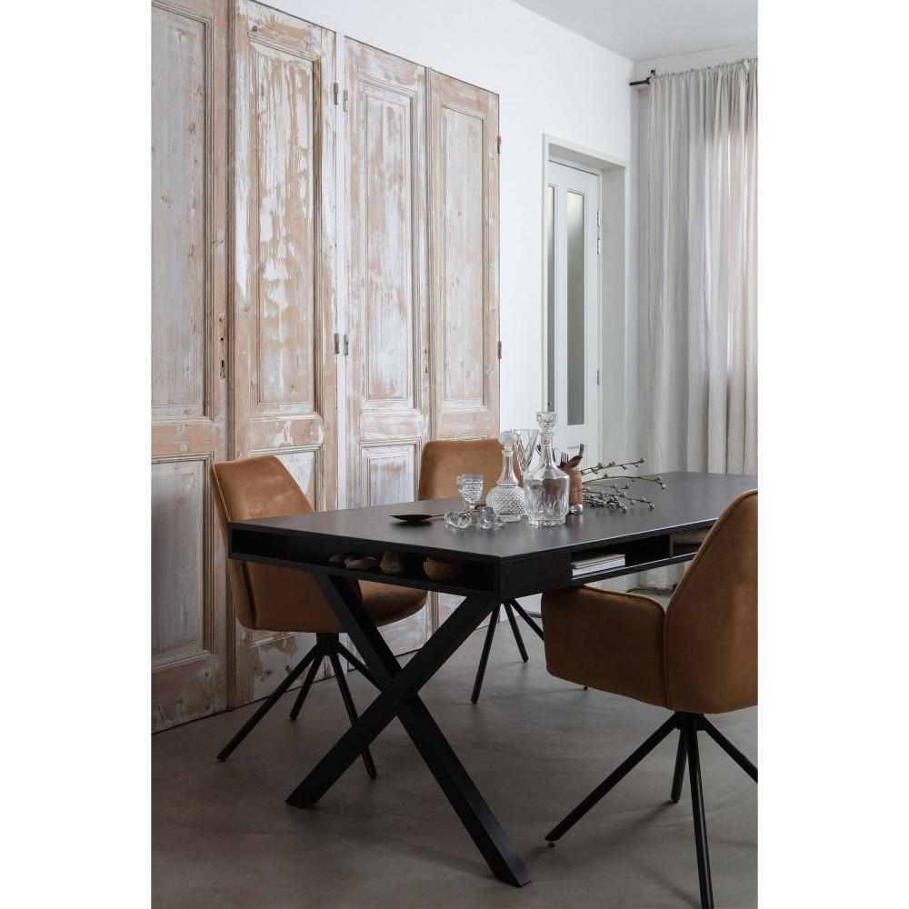 Table à manger en bois et métal noir en X 220x90cm