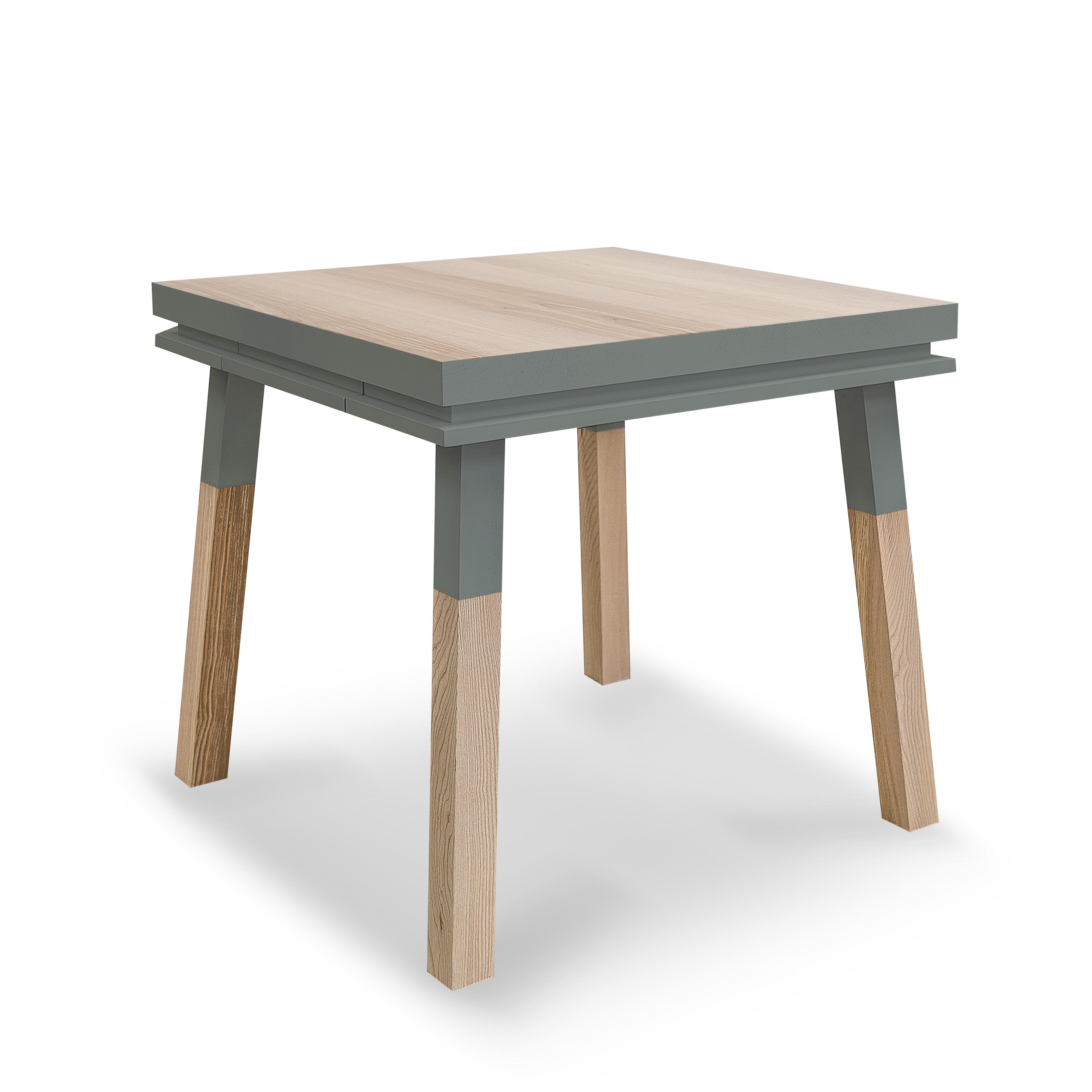 maison du monde Table repas carrée bois massif bleu gris lehon