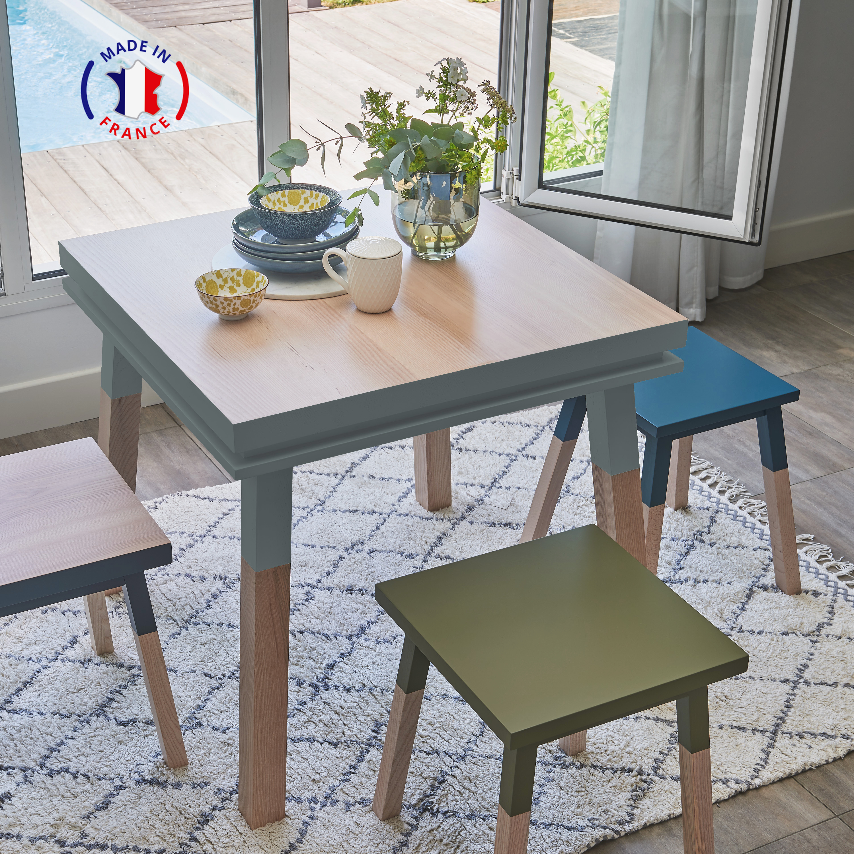 Table cuisine avec tiroir, frêne massif bleu gris lehon