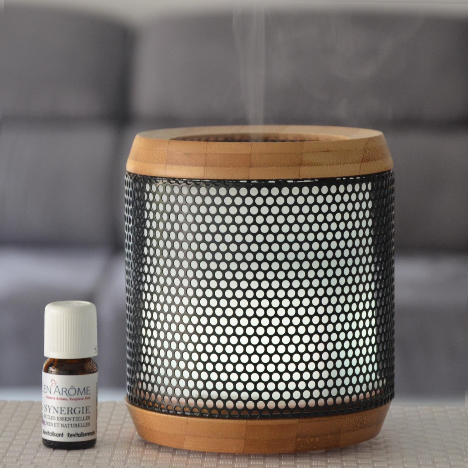 Diffuseur d'huiles essentielles ultrasonique métal et bambou Elipsia