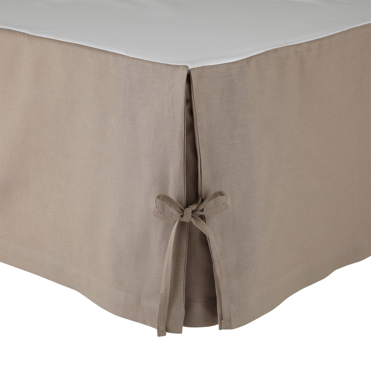 Cache sommier Lin Taupe 90 x 200 cm (photo)