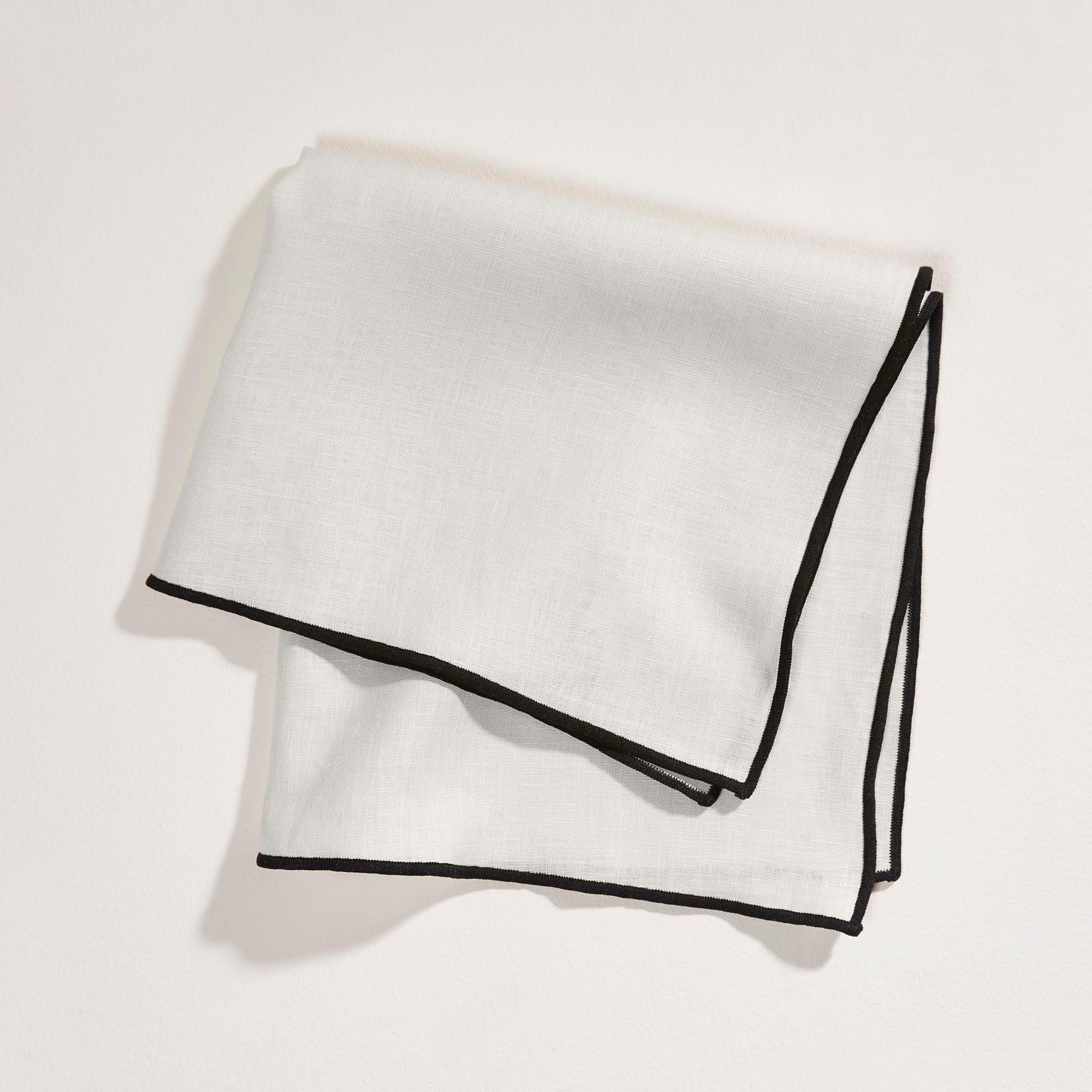 Serviette de table 45x45 cm Beige clair et bourdon noir en Lin