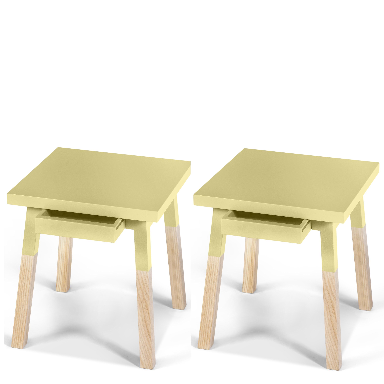 2 chevets laqués en bois avec tiroir jaune lunaire (photo)