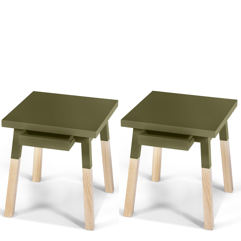 2 chevets laqués en bois avec tiroir vert lancieux (photo)