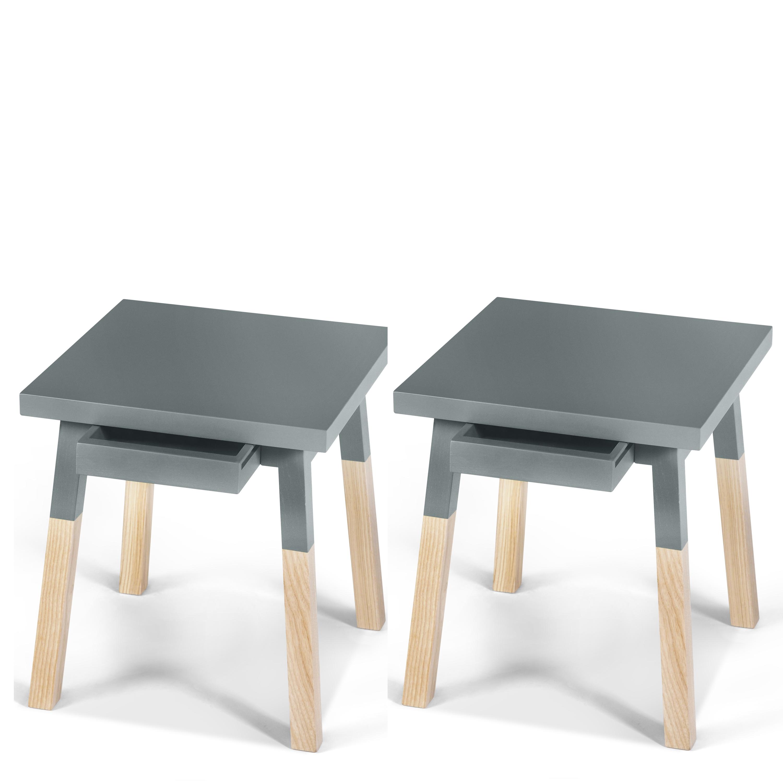 2 chevets laqués en bois avec tiroir bleu gris lehon (photo)