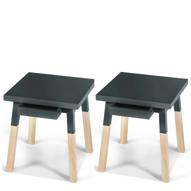 2 chevets laqués en bois avec tiroir bleu sombre de rance (photo)