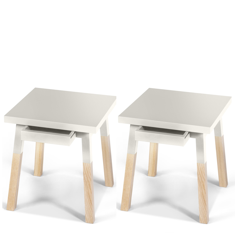 2 chevets laqués en bois avec tiroir blanc balisson