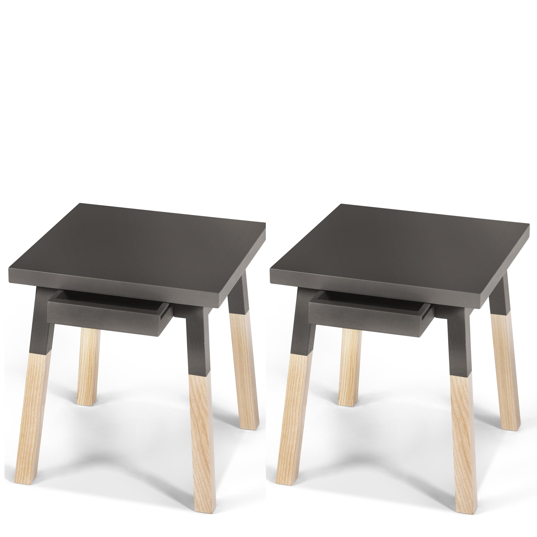 2 chevets laqués en bois avec tiroir gris chocolat tanis (photo)
