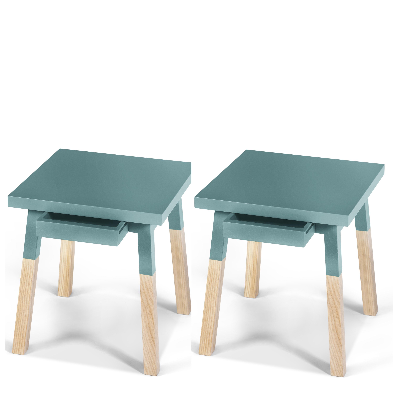2 chevets laqués en bois avec tiroir bleu briac (photo)