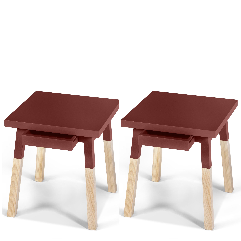 2 chevets laqués en bois avec tiroir rouge de pluduno (photo)