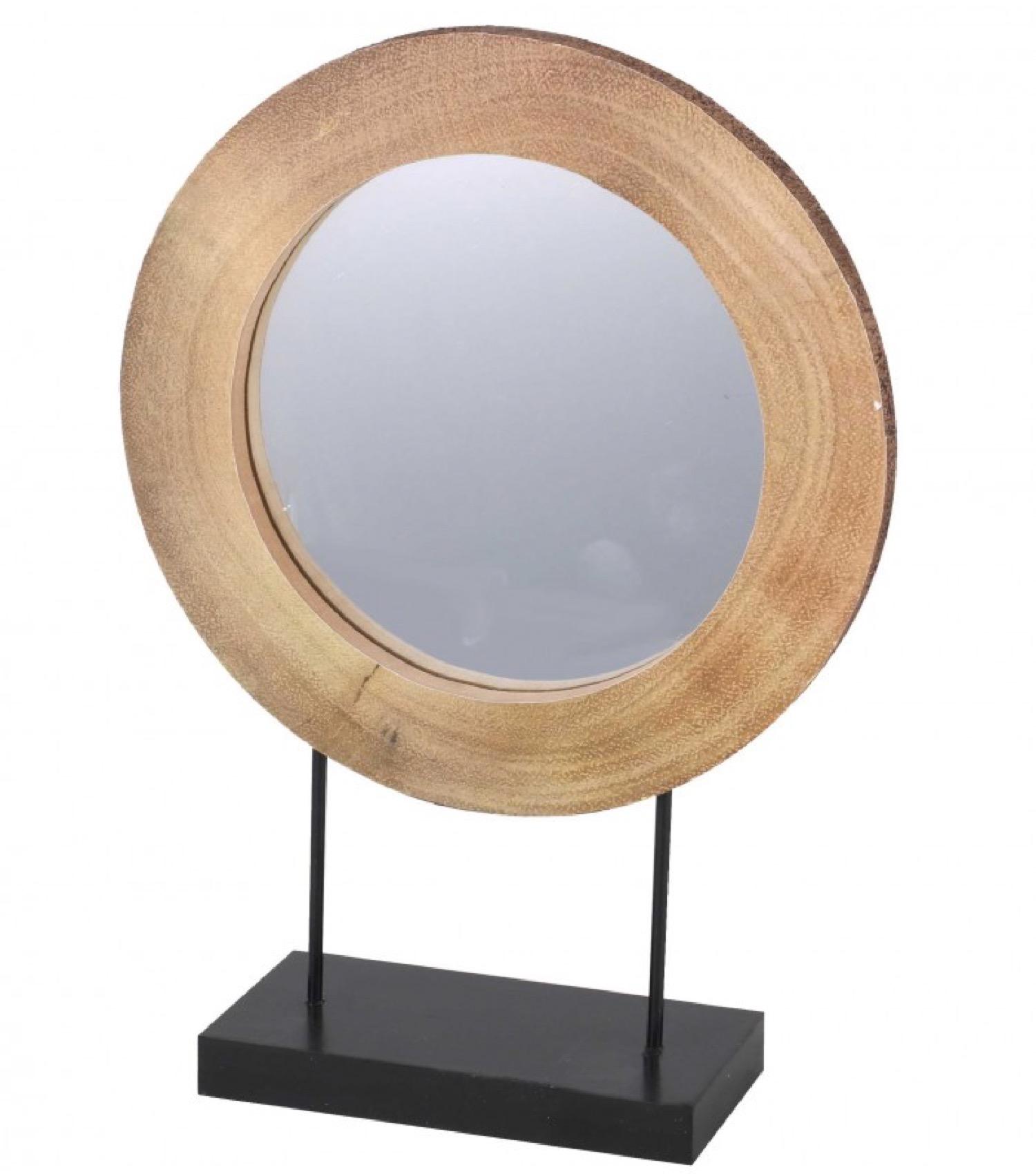 Miroir décoratif à poser rondin de bois et métal noir 30x41,5