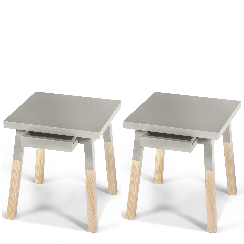 2 chevets laqués en bois avec tiroir gris muscade (photo)