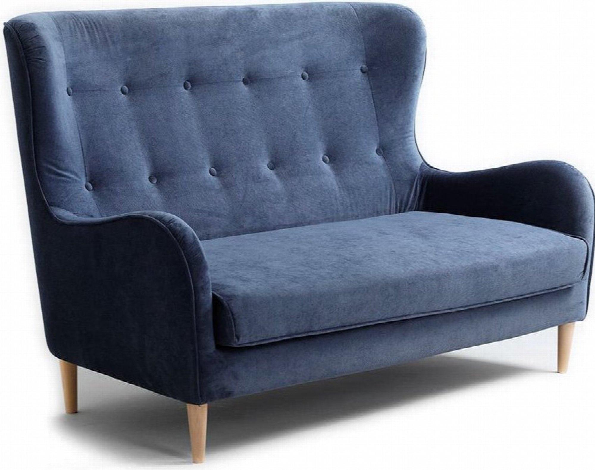 Canapé 2 places tissu bleu h42cm