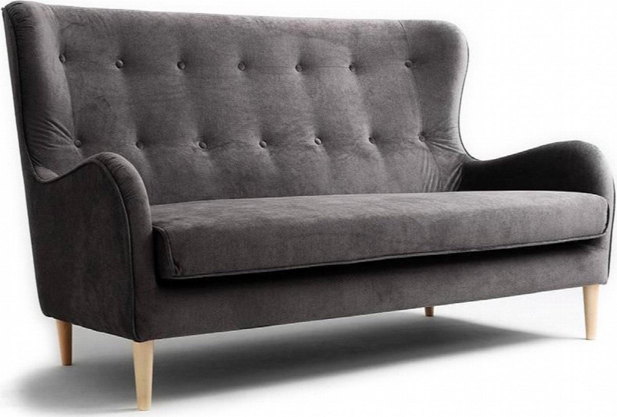 Canapé 3 places tissu gris h42cm