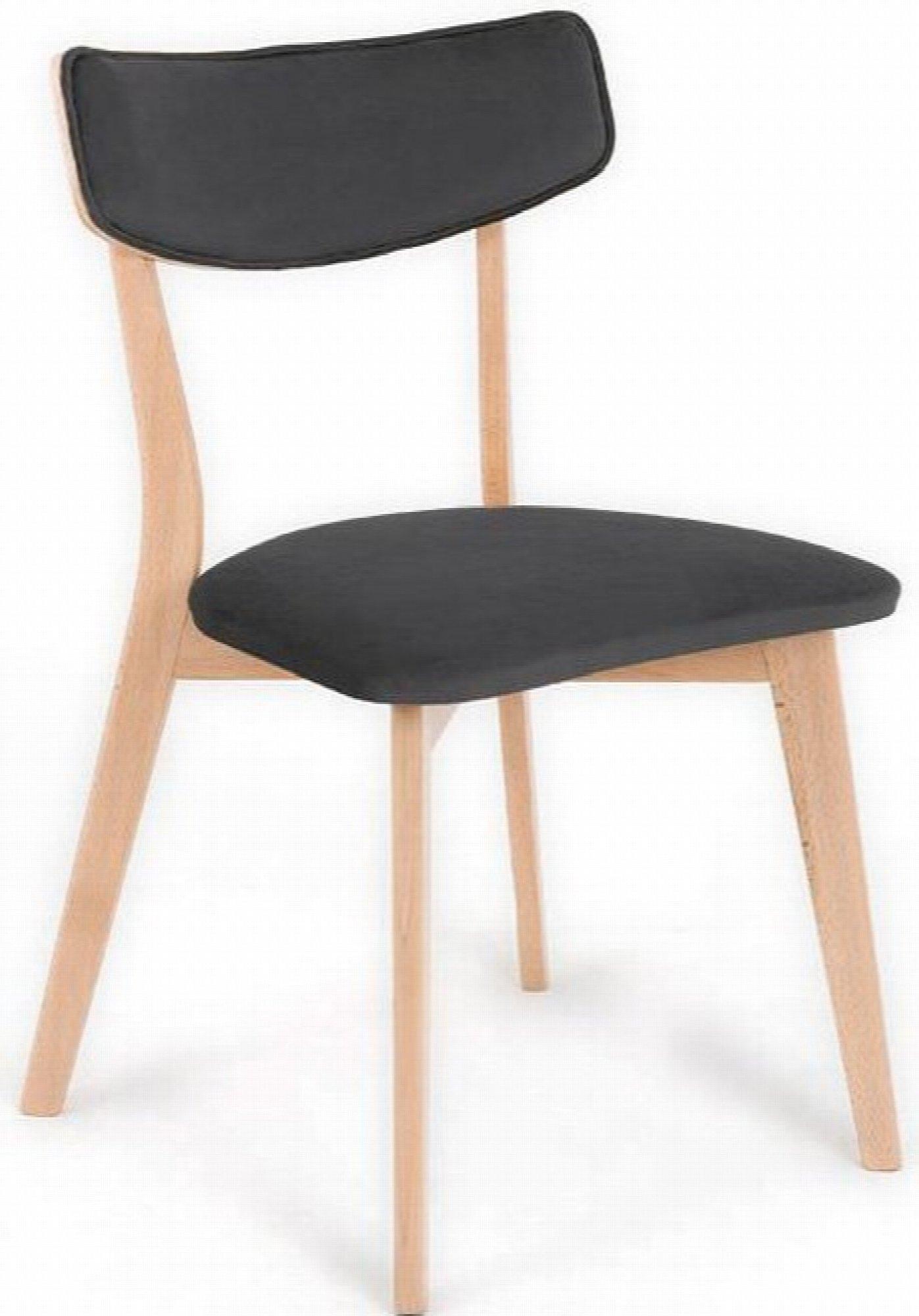 maison du monde Chaise design tradition velours gris pieds bois clair