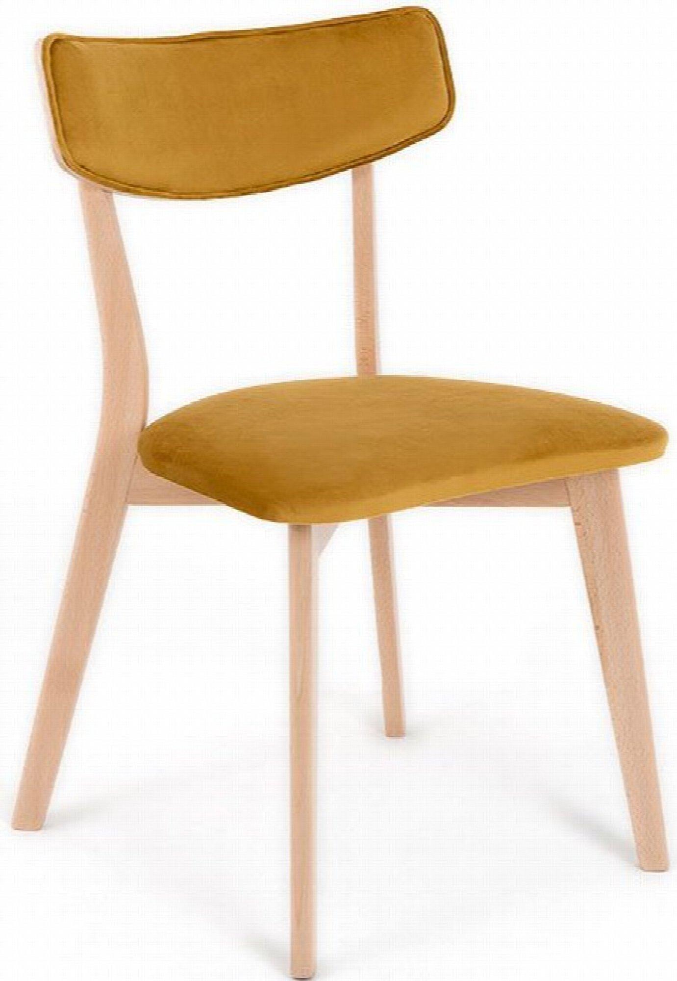 maison du monde Chaise design tradition velours marron pieds bois clair