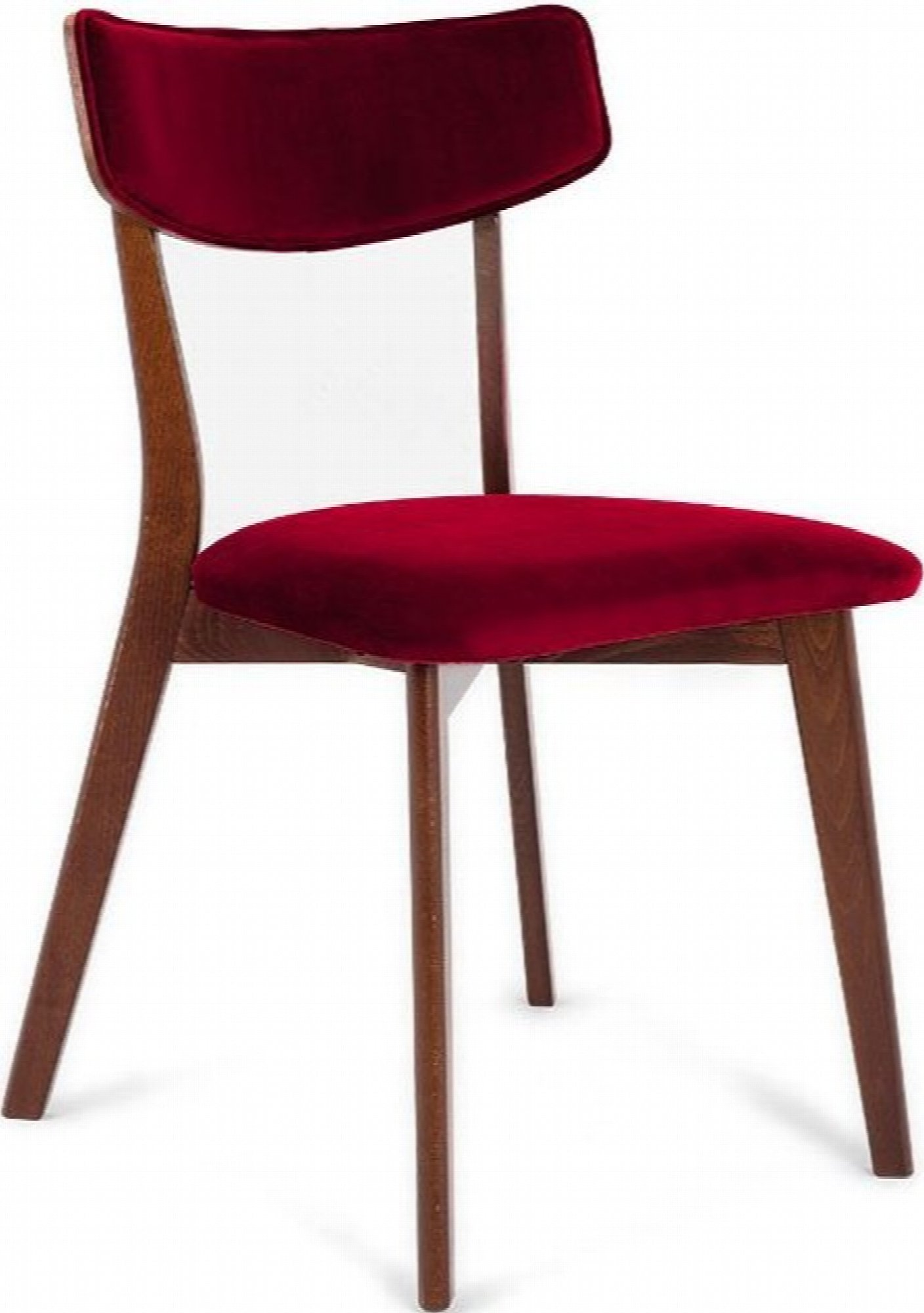 Chaise design tradition velours rouge pieds noyer