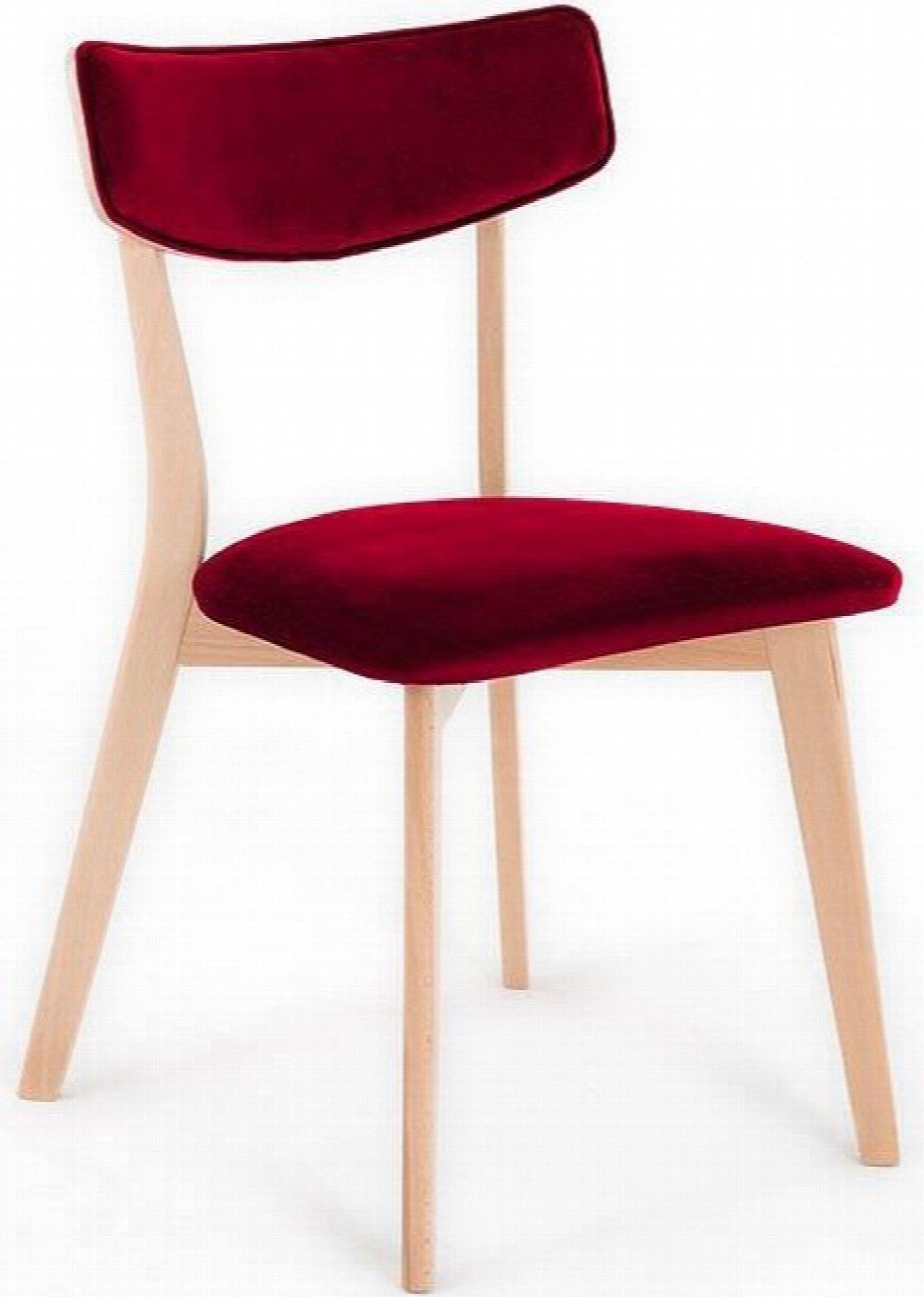 maison du monde Chaise design tradition velours rouge pieds bois clair