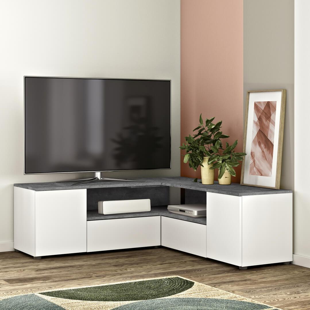 Meuble TV  effet bois Blanc et béton