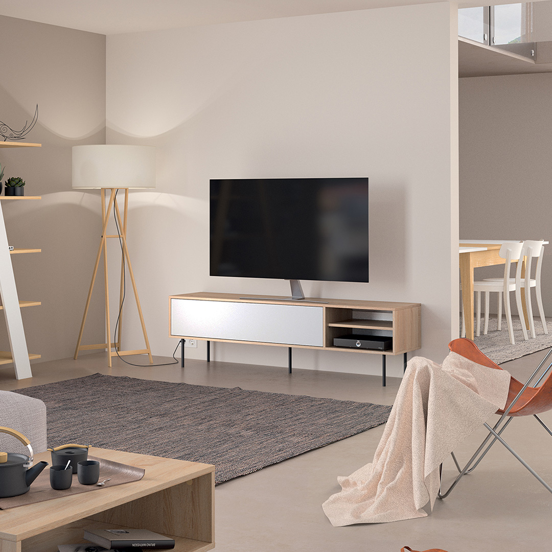 Meuble TV, Chêne naturel et blanc AMPERE