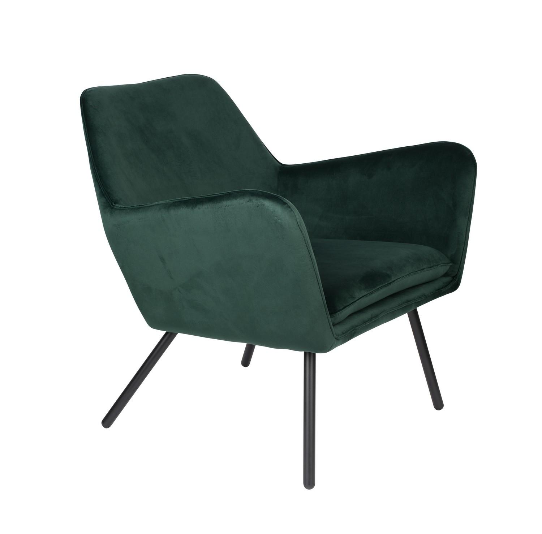 Fauteuil de salon confortable en velours vert
