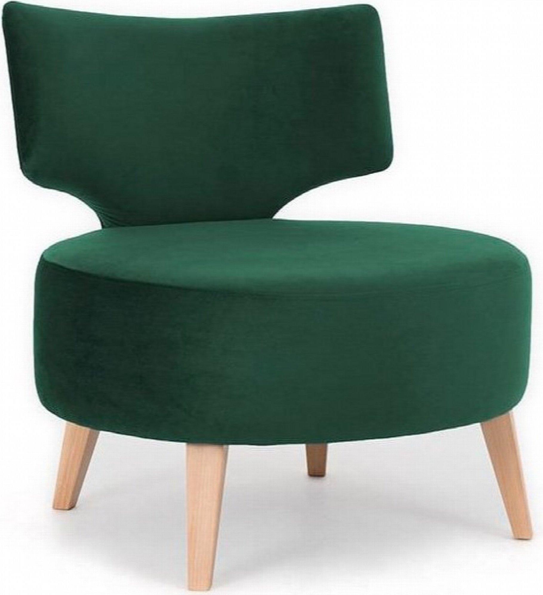 Fauteuil cosy rembourré tissu couleur vert pieds bois clair
