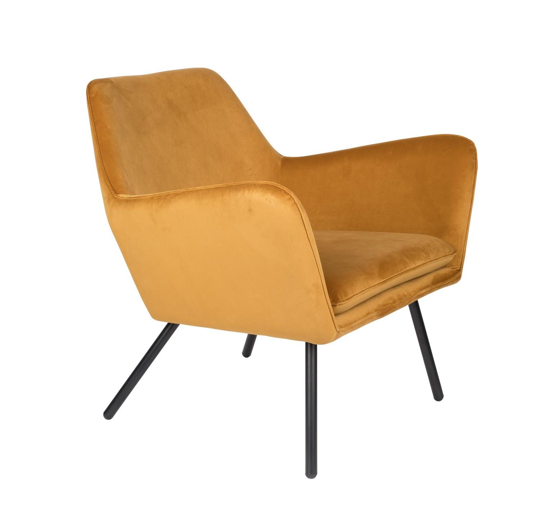 Fauteuil de salon confortable en velours jaune or