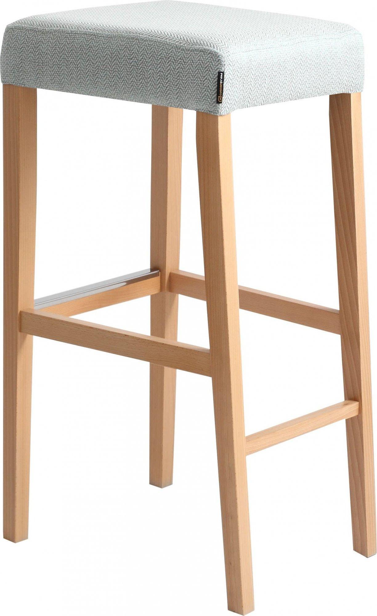Tabouret bar tissu rembourrée beige pieds bois massif clair