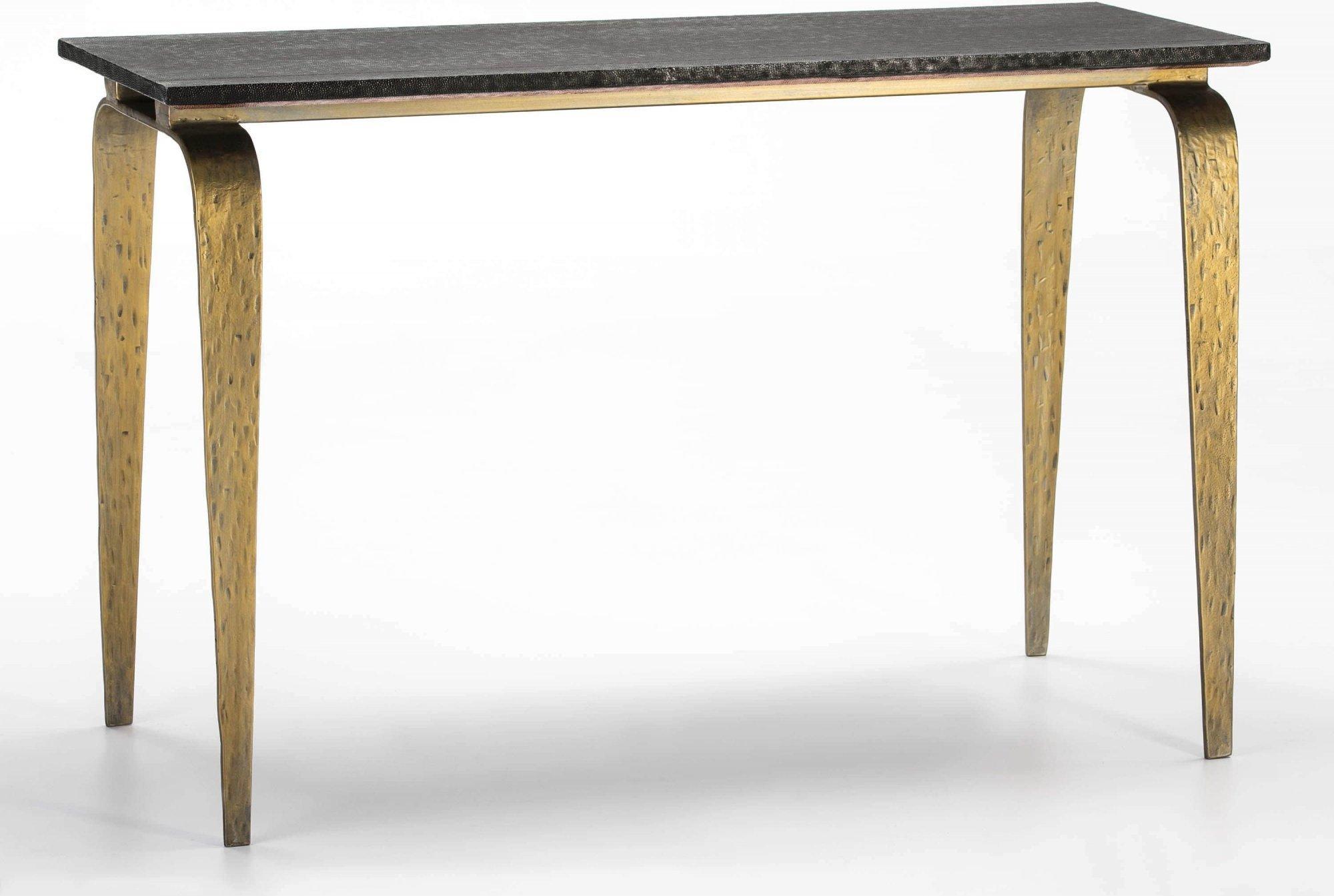 maison du monde Console plateau bois pieds métal doré l119cm