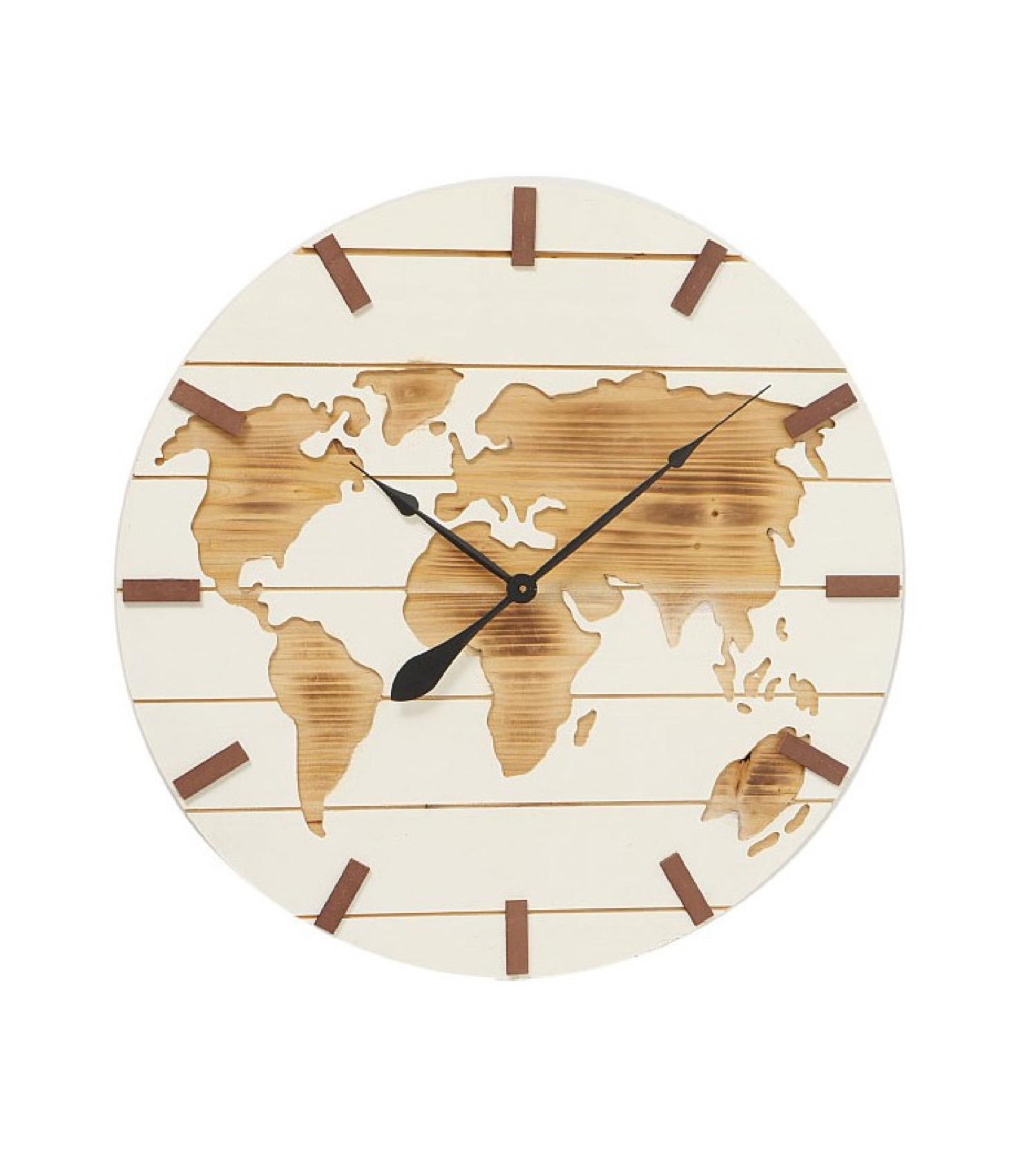 Grande horloge murale en bois blanc D74