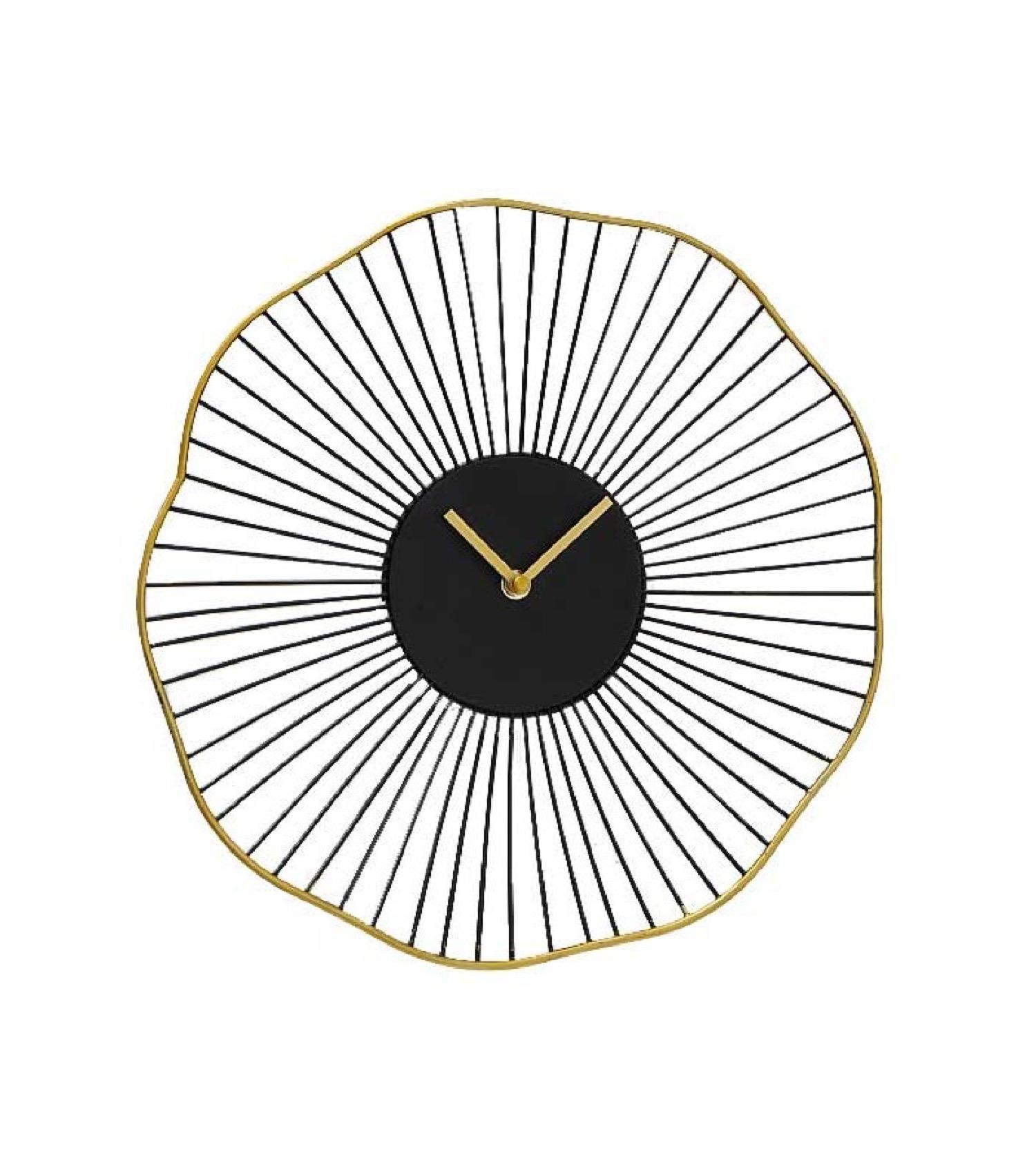 Horloge murale ronde noire et dorée D35
