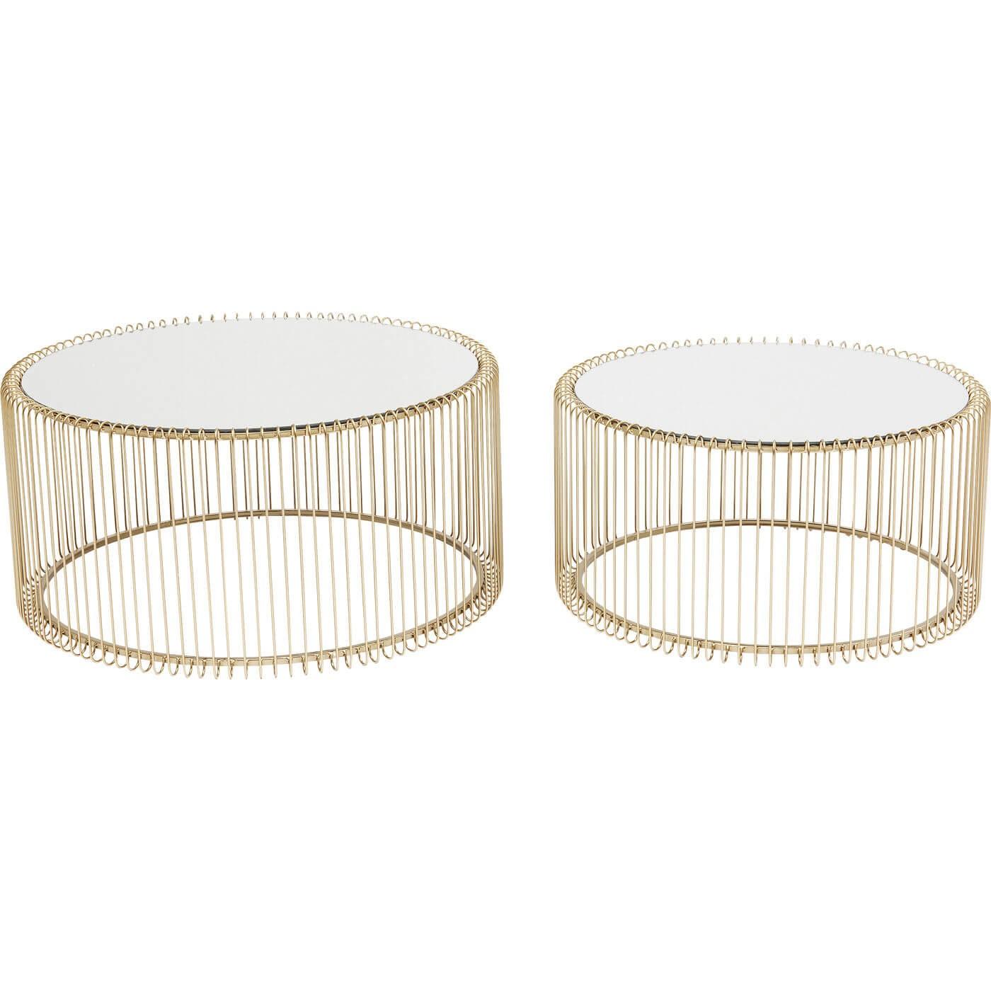 2 tables basses rondes en acier doré et verre miroir